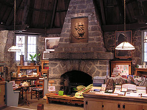 LeConte Memorial Lodge - Interior of the Lodge. A bas-relief of Joseph LeConte is over the fireplace.