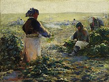 Oil painting of peasants working in a beet field