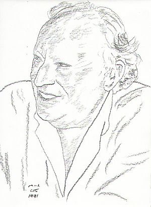 Leon Uris - Drawing of Leon Uris by Chaim Topol