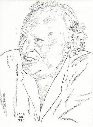 Leon Uris - Drawing of Leon Uris by Chaim Topol