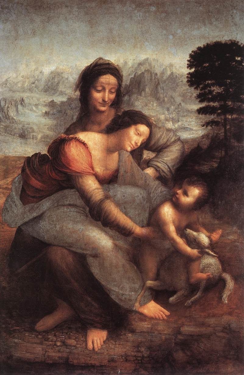 Leonardo da vinci, The Virgin and Child with Saint Anne 01