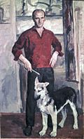Leonid Mezheritski. Self Portrait with Whelp.jpg