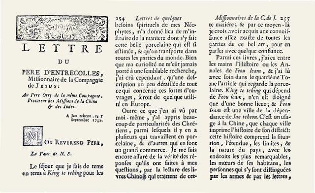 Lettre du pere Entrecolles 1712 du Halde 1735