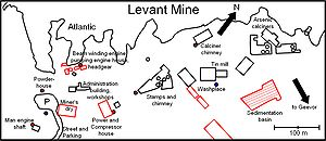 Levant Mine and Beam Engine - Overview sketch of the buildings and ruins of the Levant Mine (buildings and ruins still existing shown in red)