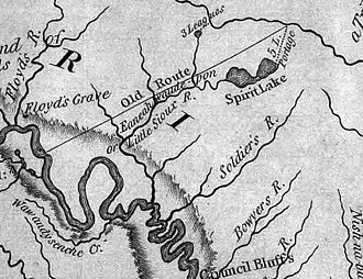 Sergeant Floyd Monument - This excerpt from the Lewis and Clark map of 1814 shows the rivers of western Iowa. Floyd's Grave is noted at the left of the map.