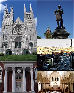 Lewiston, Maine - Clockwise: Basilica of Saints Peter and Paul, Kennedy Park, sunset skyline, the Agora Grand Event Center, and the entrance to Hathorn Hall of Bates College.