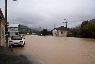 Little River, New Zealand - Little River flooded by the Okana River in October 2011