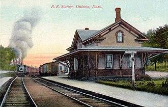 Littleton/Route 495 station - The 1879 Littleton depot on a 1910 postcard