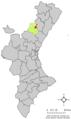 Localització del Castell de Vilamalefa respecte del País Valencià.png