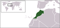 A map showing the location of Morocco