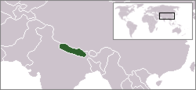 A map showing the location of Nepal