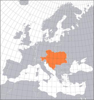 Karte Europas im Jahre 1914 am Vorabend des Ersten Weltkrieges (Österreich-Ungarn hervorgehoben)
