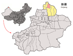 Location of Altay City within Xinjiang (China).png