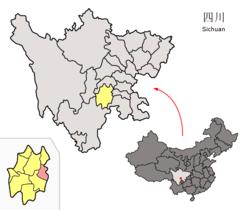 Расположение County Qianwei (красный) в пределах города Лэшань (желтый) и Сычуань
