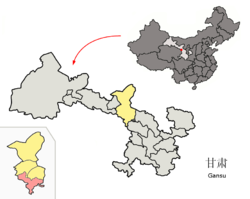 Bairi County (red) within Wuwei City (yellow) and Gansu