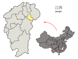 Location of Yingtan City jurisdiction in Jiangxi