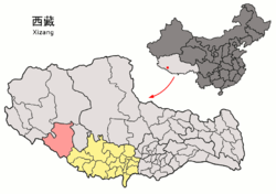 Location of Zhongba County within Tibet