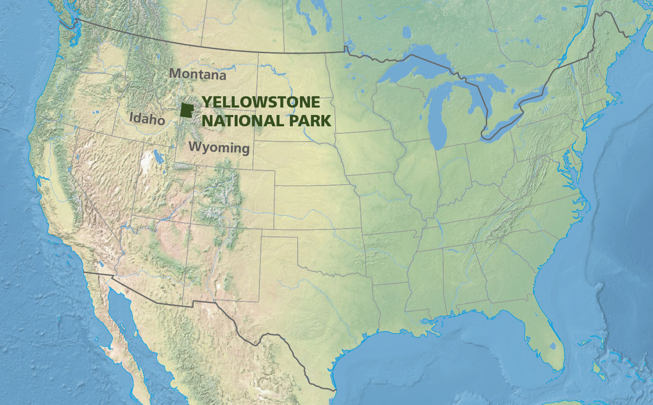 Map showing the location of Yellowstone National Park