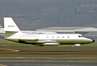 Lockheed JetStar - The prototype L-329 twin-engine JetStar, operated by the Lockheed Aircraft Corporation, at Washington DCA airport in 1972