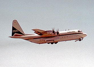 Lockheed L-100 Hercules - Lockheed L-100-20 of Delta Air Lines operating a freight flight from Atlanta Airport, Georgia, in 1972