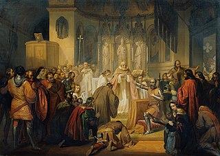 Vittore Pisani empfängt das heilige Abendmahl bevor er das Kommando einer Expedition gegen die Genuesen übernimmt
