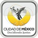 "Logo of a black-and-white sculpture, El Ángel. It is a victory symbol personified by an upper naked angel wearing a long skirt. She holds a laurel wreath with her right hand. Below her image, two golden wings are displayed. The slogan ""Ciudad de México"" is written in black capital letters, with the word ""México"" bolded, and below the slogan ""Decidiendo Juntos"" with the same pattern. The whole image is located inside a gray squircle."