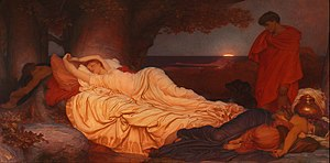 Saffron (color) - Cymon and Iphigeneia c. 1884 by Frederic Leighton - saffron suffuses the canvas at sunrise