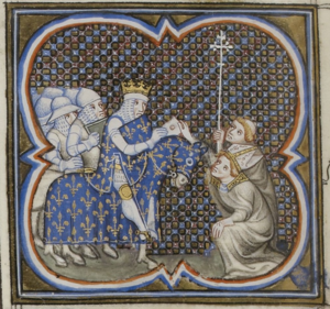 Louis VII of France - Louis VII receiving clergymen, from a late medieval manuscript.