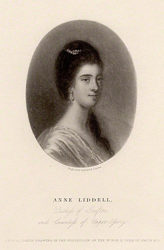 Anne FitzPatrick - Duchess Anne Liddell engraved by David Lucas in the mid-19th century