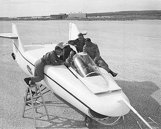 Bruce Peterson - Bruce Peterson, 3rd from left, with fellow pilots Milt Thompson, Don Mallick and Chuck Yeager (in the cockpit)