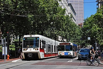 Portland Transit Mall - Since mid-2009, MAX Light Rail and buses share the Portland Transit Mall.