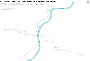 MetroLink Express Gandhinagar and Ahmedabad route map