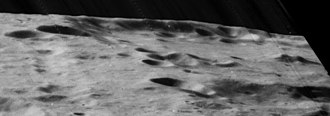 Mach (crater) - Highly oblique Lunar Orbiter 5 view of southern Mach crater, facing west.