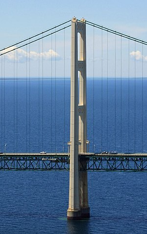 Mackinac Bridge - View of a bridge tower.