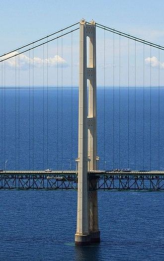 Mackinac Bridge - View of a bridge tower.