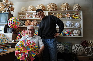 Stellation - Magnus Wenninger with some of his models of stellated polyhedra in 2009