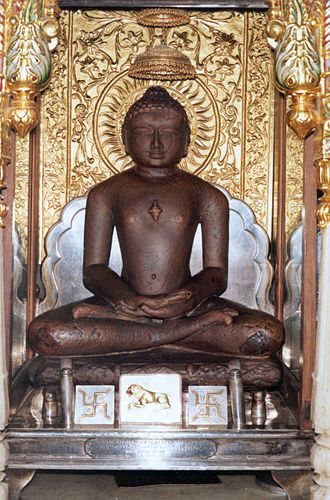 Mahavira - Statue of Mahavira meditating in the lotus position at Shri Mahavirji, Rajasthan, India.