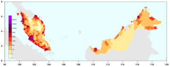 A map of Malaysia depicting the expected 2010 estimated population density.
