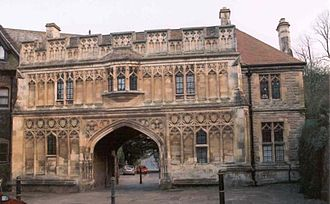 Great Malvern - The Abbey Gateway in the town centre is now the home of the Malvern Museum.