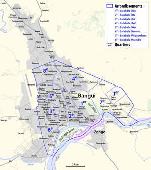 Map - Arrondissements and Quartiers in the agglomeration of Bangui