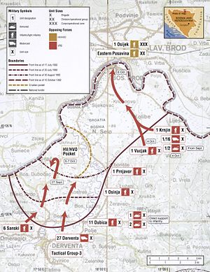 Operation Corridor 92 - Map of the VRS capture of Bosanski Brod in October 1992