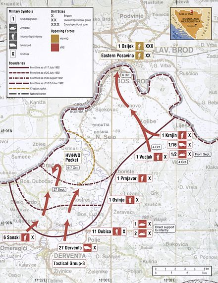 Map of the VRS capture of Bosanski Brod in October 1992