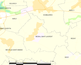 Mapa obce Mesnil-Saint-Laurent