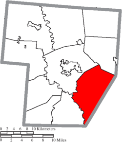 Location of Wayne Township in Fayette County