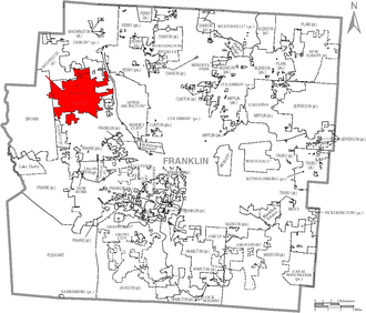 Hilliard, Ohio - Image: Map of Franklin County Ohio With Hilliard Labeled