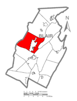 Map of Blair County, Pennsylvania highlighting Logan Township