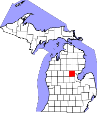Map of Michigan highlighting Gladwin County.svg