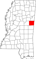 Map of Mississippi highlighting Noxubee County.svg