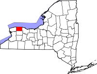 Map of New York highlighting Orleans County