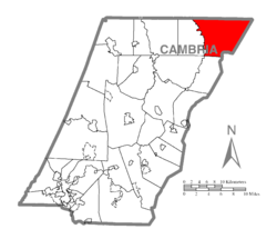 Map of Cambria County, Pennsylvania highlighting Reade Township